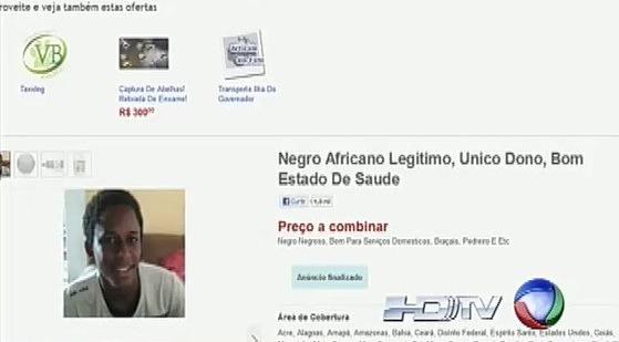"""UN """"NEGRO"""" MIS EN VENTE SUR INTERNET (Brésil)"""
