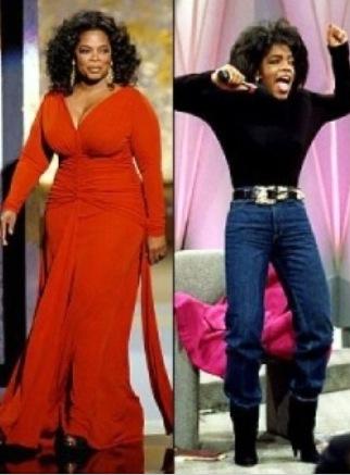 Oprah Winfrey (jeune) : (avant - après ?) chirurgie ou pas chirurgie ? Ce qui est sûr c'est qu'elle a fait le yoyo avec son poids au cours de sa carrière.