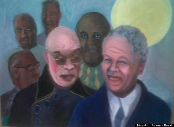 (Simunye) KOBUS MYBURGH : SA PEINTURE DE NELSON MANDELA 'BLANC' CAUSE L'INCOMPREHENSION (white Zuma and white Mandela)