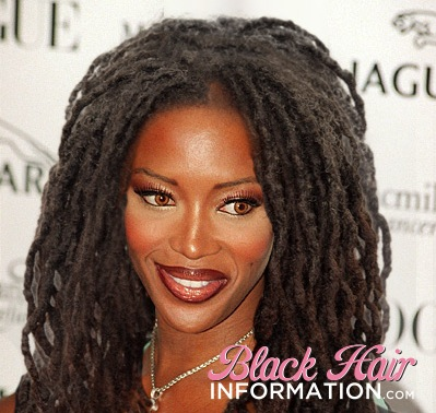 6. Naomi Campbell avec ses cheveux naturels (dread locks) - natural kinky hair