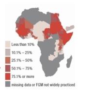(EXCISION) LES MUTILATIONS GENITALES FEMININES EN AUGMENTATION AUX ETATS-UNIS (Afrique - pourcentages d'excisions pratiquées)