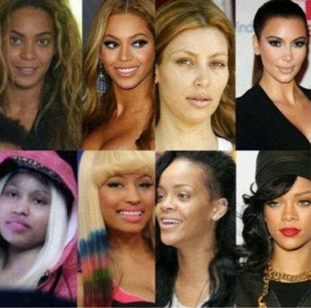 STARS AVANT/APRES LE MAQUILLAGE : Beyonce, Kim kardashian, Nicki Minaj, Rihanna