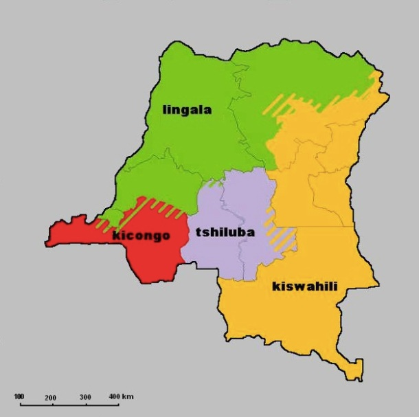 Répartition géographique des dialectes en RDC.