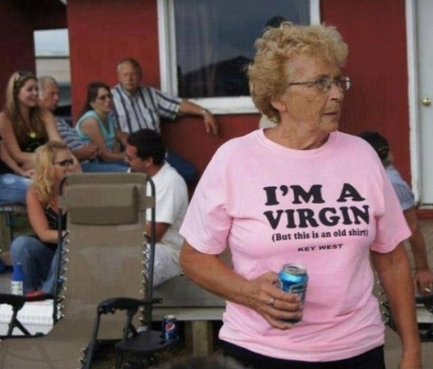 "LIKE A VIRGIN (tee shirt ""I'm a virgin"")"