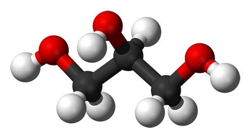 Structure moléculaire de la glycérine végétale aussi appelée propan-1,2,3-triol.