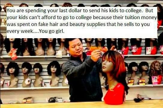 Les coréens se moquent des femmes noires qui dépensent tout leur argent dans les perruques pendant que eux se remplissent les poches