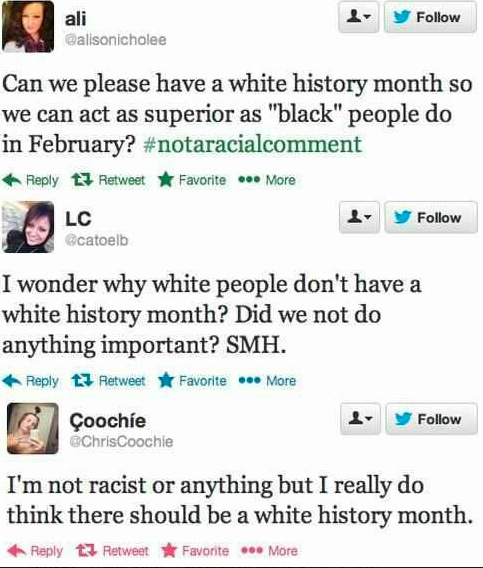Black history month VS white history month
