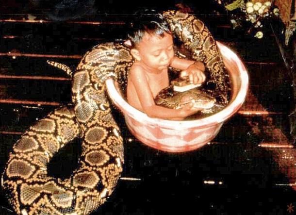 Un petit garçon prend un bain avec un serpent (photo insolite)